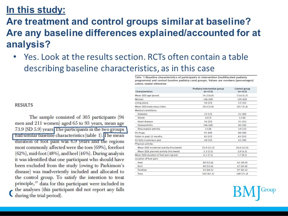 In this study: Are treatment and control groups similar at baseline
