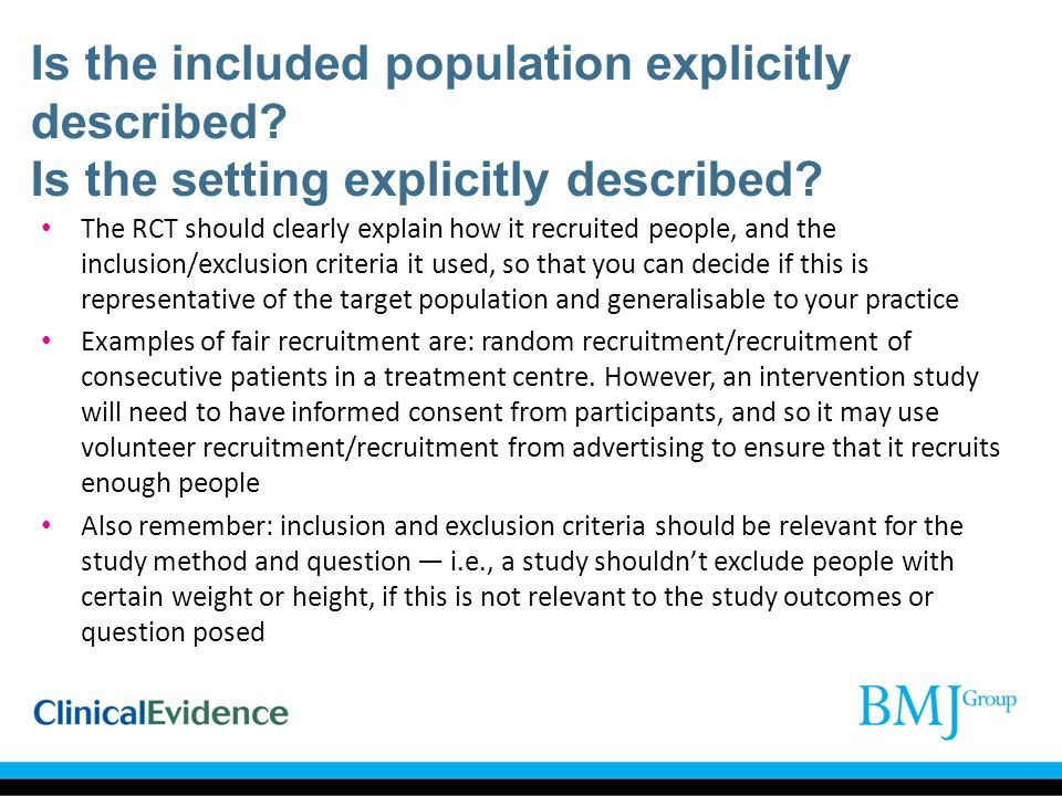 Is the included population explicitly described