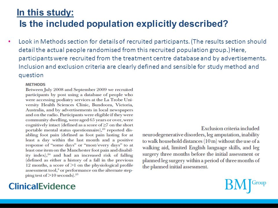 In this study: Is the included population explicitly described