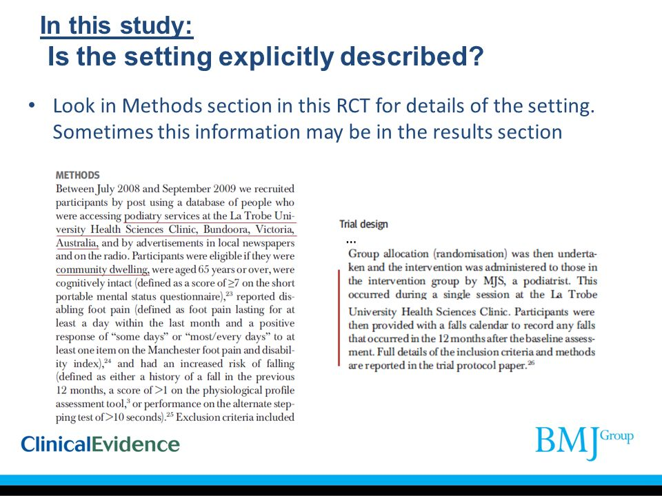 In this study: Is the setting explicitly described