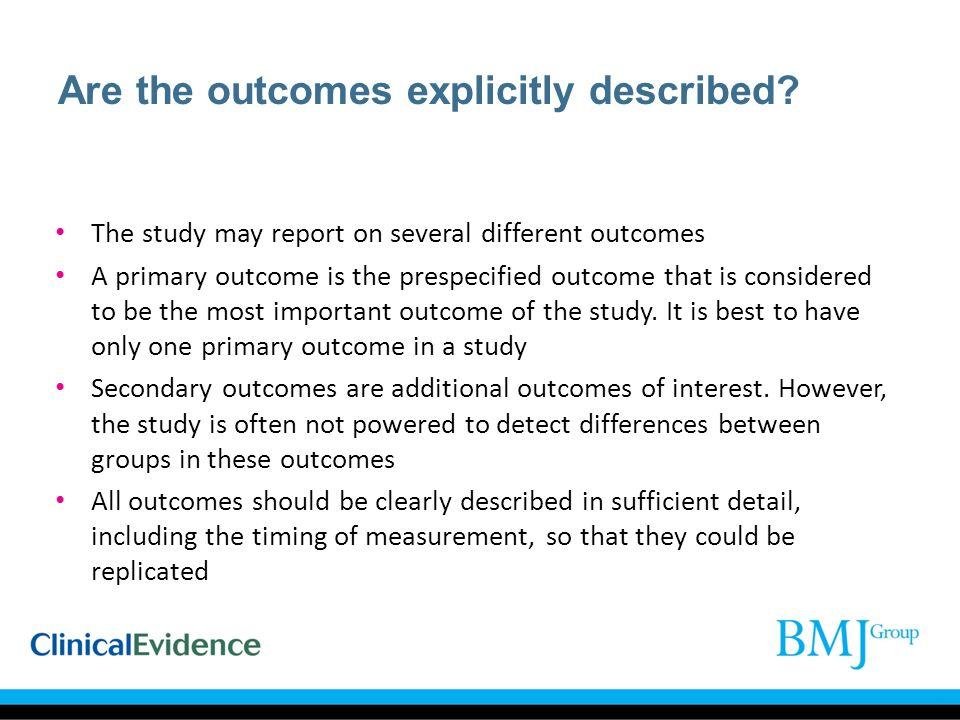 Are the outcomes explicitly described
