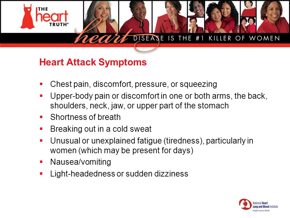 Heart Attack Symptoms Chest pain, discomfort, pressure, or squeezing