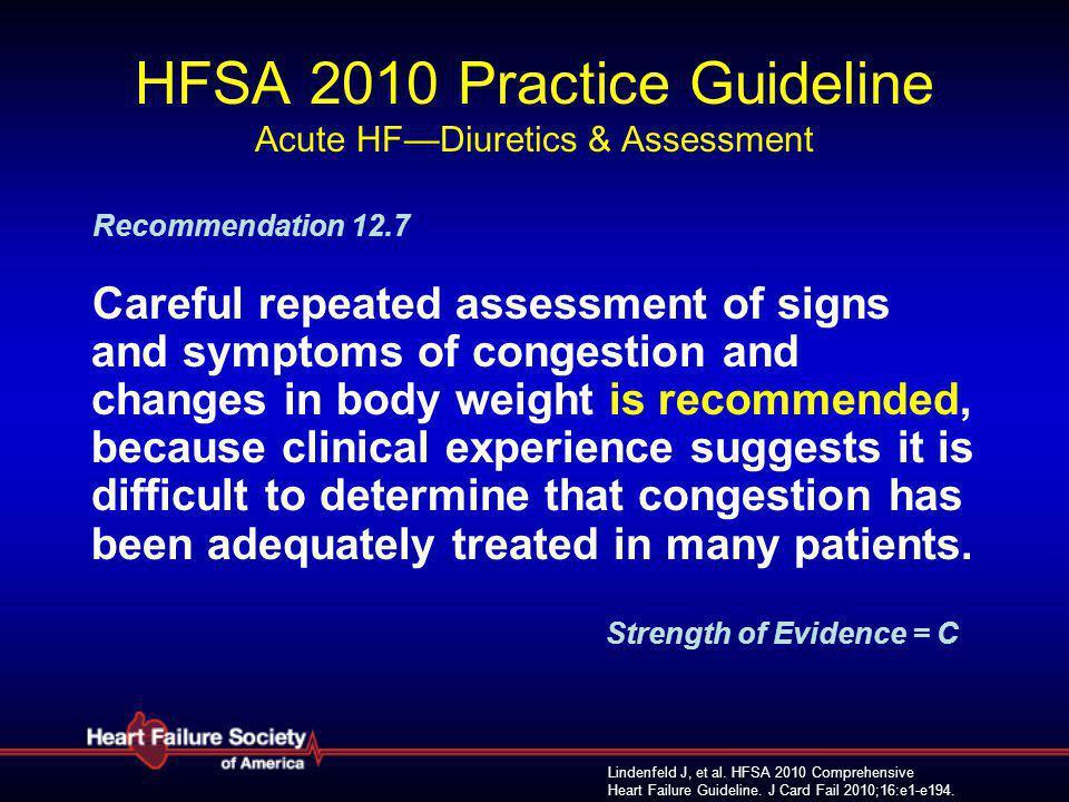 HFSA 2010 Practice Guideline Acute HF—Diuretics & Assessment