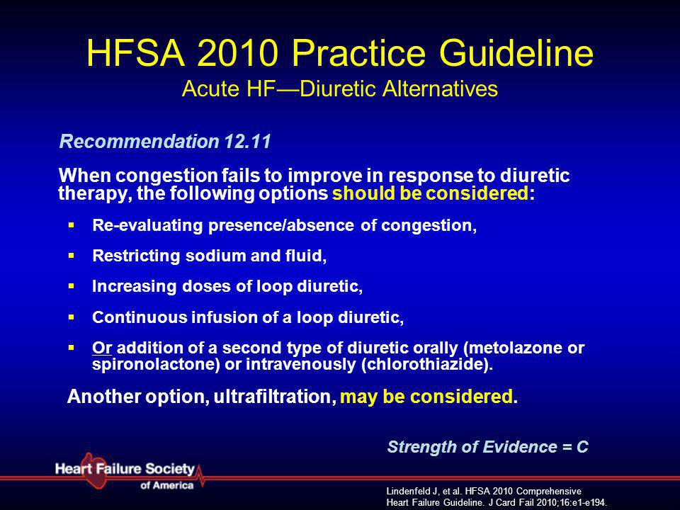 HFSA 2010 Practice Guideline Acute HF—Diuretic Alternatives