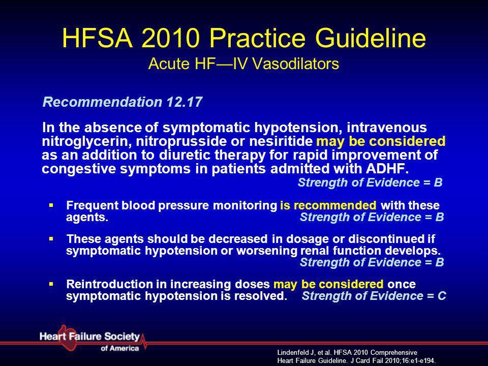 HFSA 2010 Practice Guideline Acute HF—IV Vasodilators