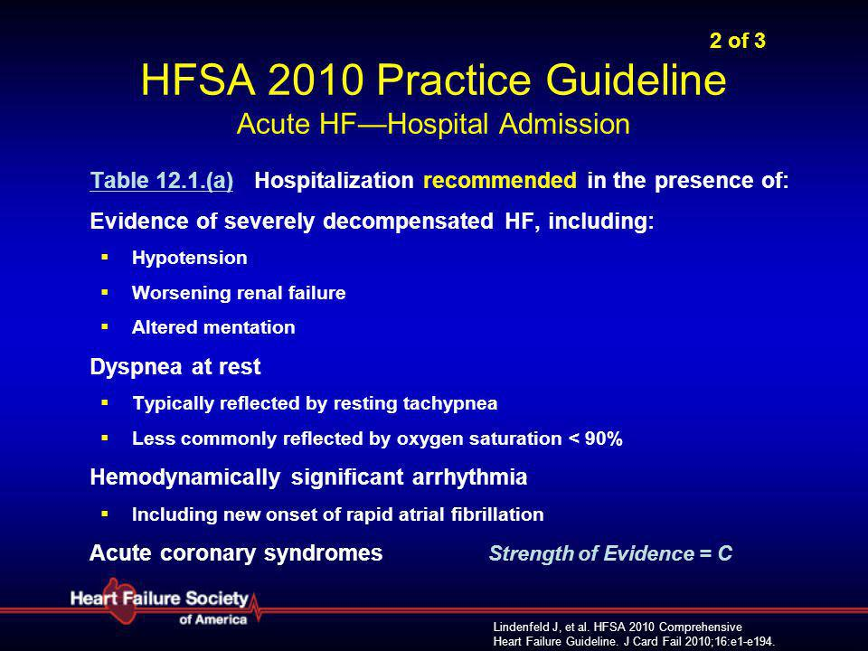 2 of 3 HFSA 2010 Practice Guideline Acute HF—Hospital Admission