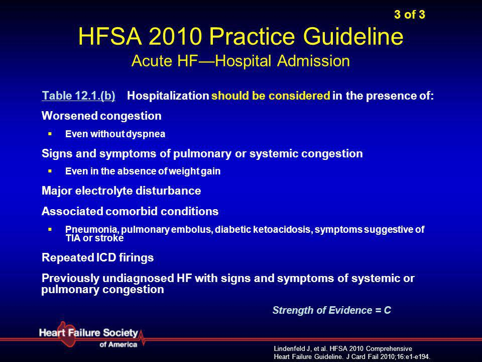 3 of 3 HFSA 2010 Practice Guideline Acute HF—Hospital Admission