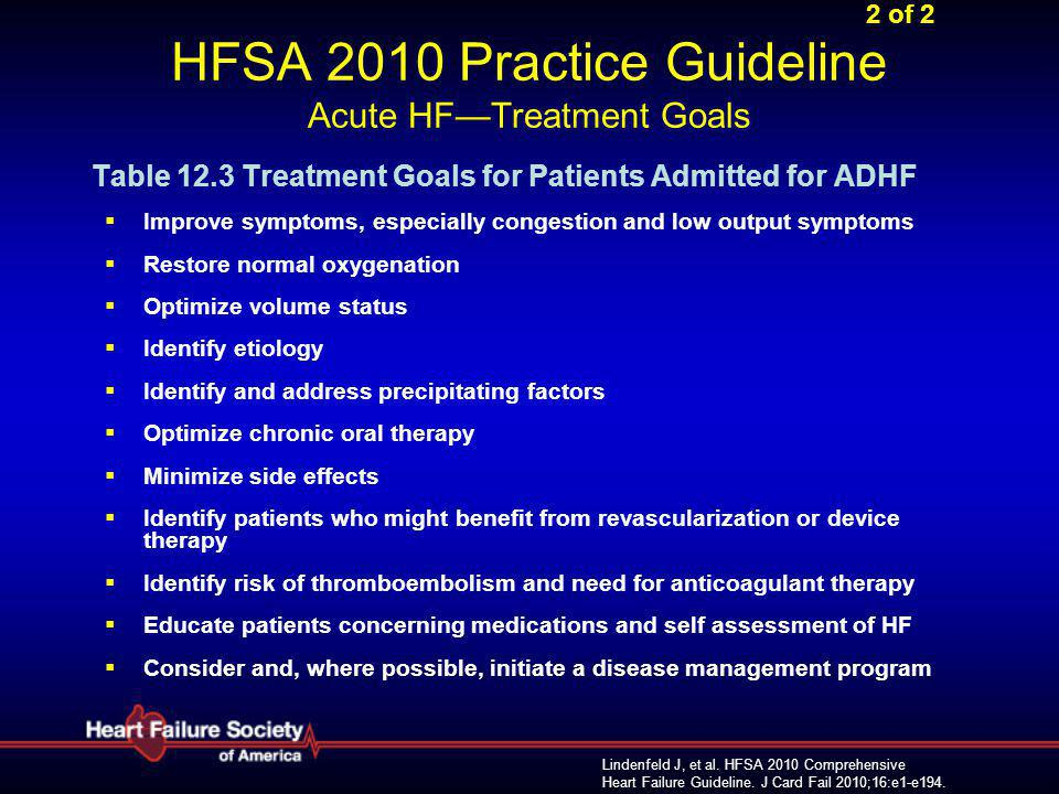 2 of 2 HFSA 2010 Practice Guideline Acute HF—Treatment Goals