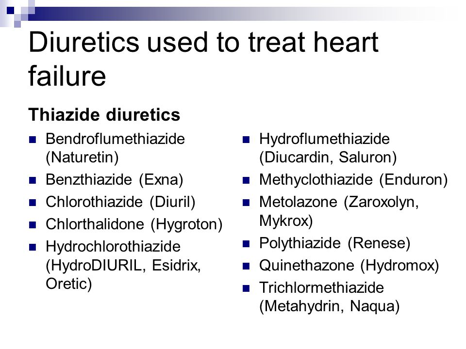 Diuretics used to treat heart failure