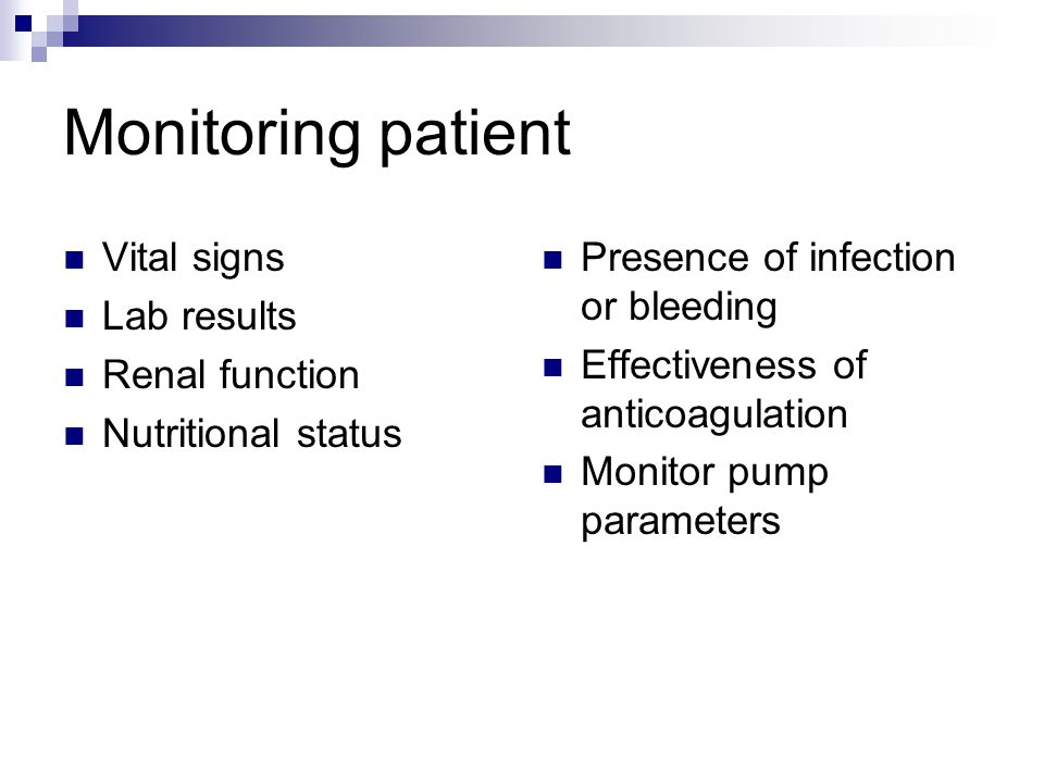 Monitoring patient Vital signs Lab results Renal function