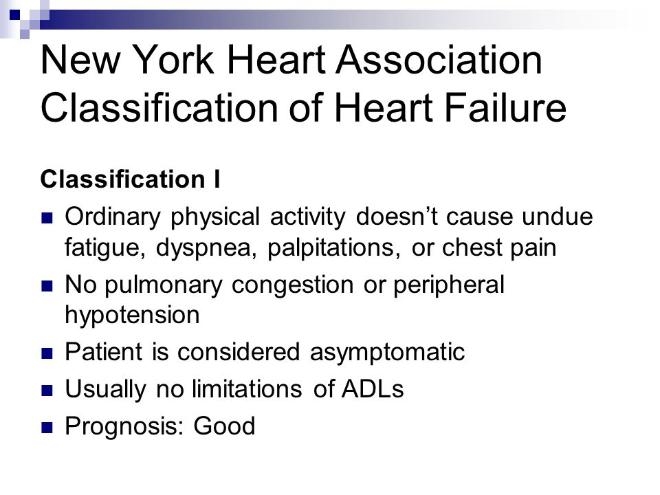 New York Heart Association Classification of Heart Failure