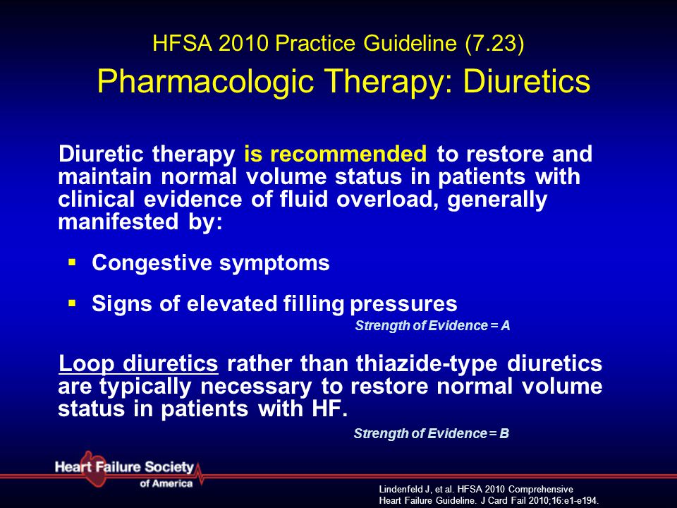 HFSA 2010 Practice Guideline (7.23) Pharmacologic Therapy: Diuretics