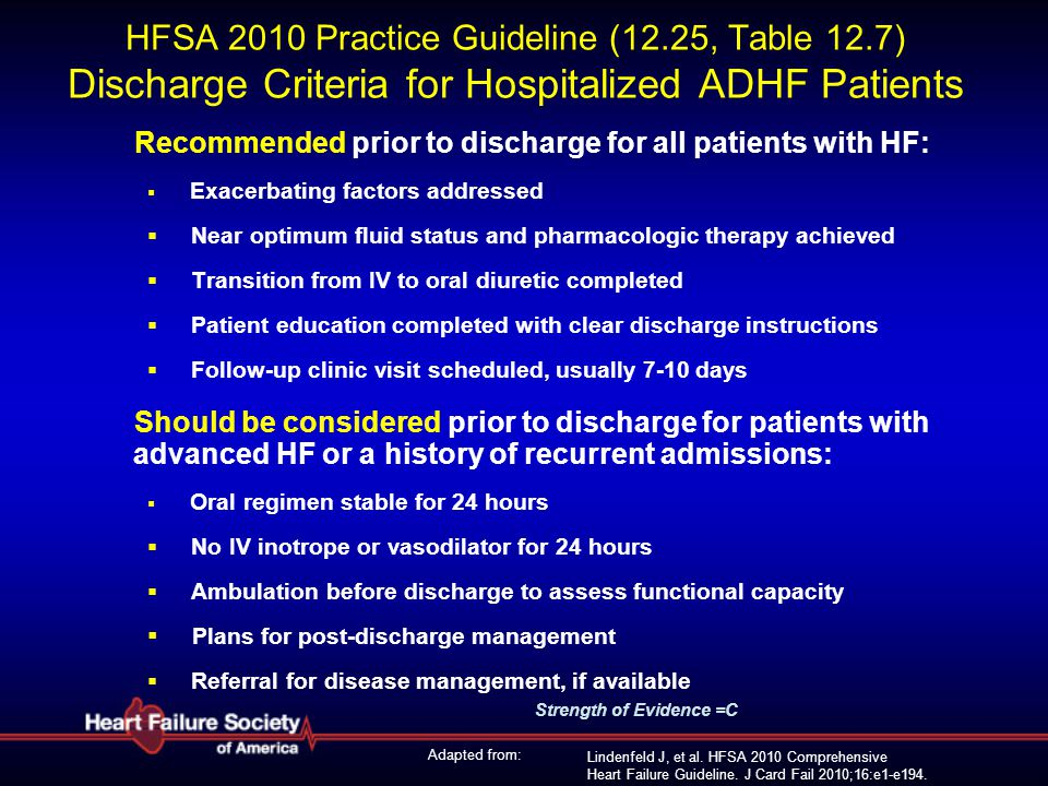 HFSA 2010 Practice Guideline (12. 25, Table 12