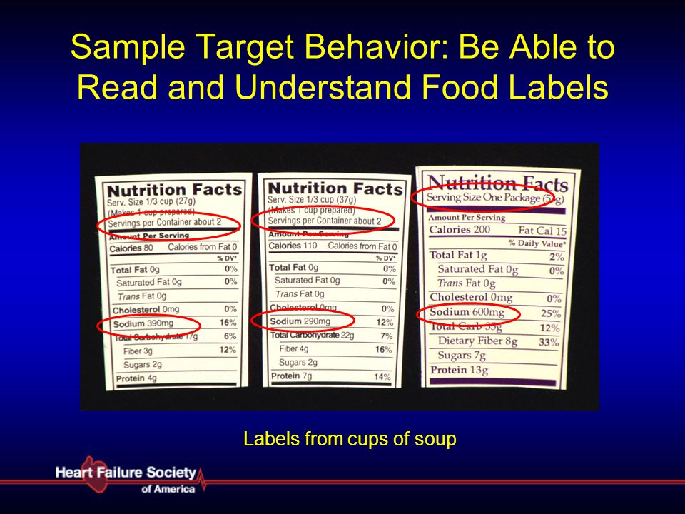 Sample Target Behavior: Be Able to Read and Understand Food Labels