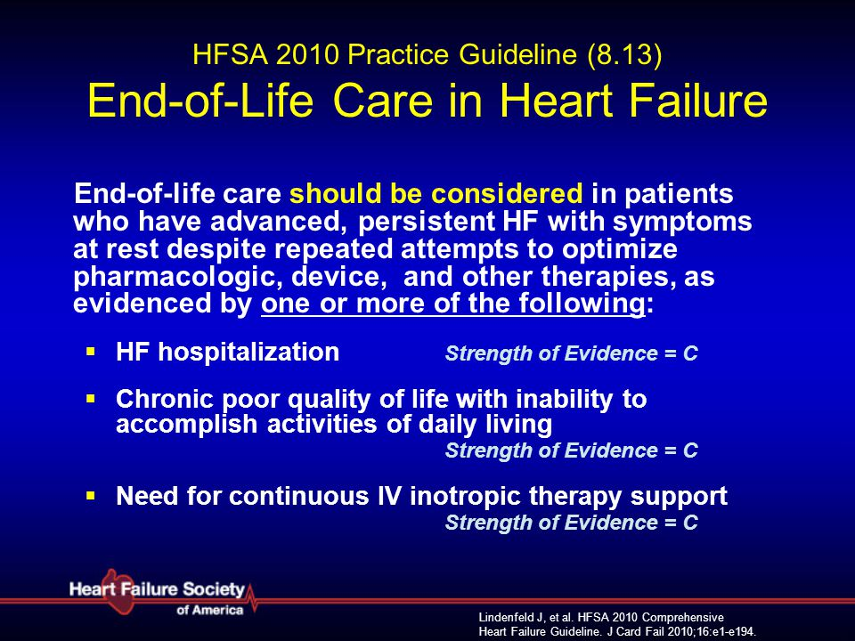 HFSA 2010 Practice Guideline (8.13) End-of-Life Care in Heart Failure