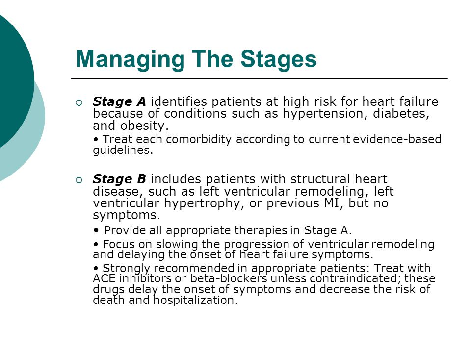 Managing The Stages Stage A identifies patients at high risk for heart failure because of conditions such as hypertension, diabetes, and obesity.