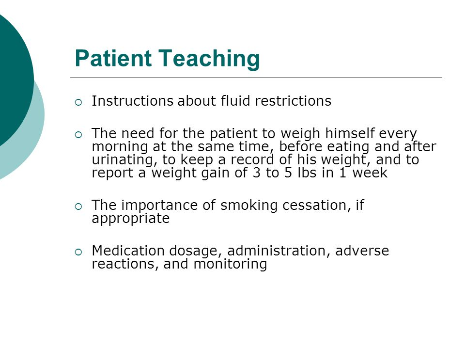 Patient Teaching Instructions about fluid restrictions