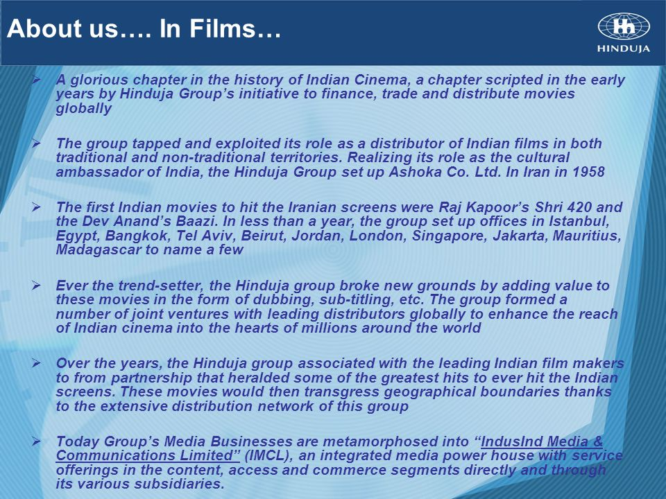 About us…. In Films…
