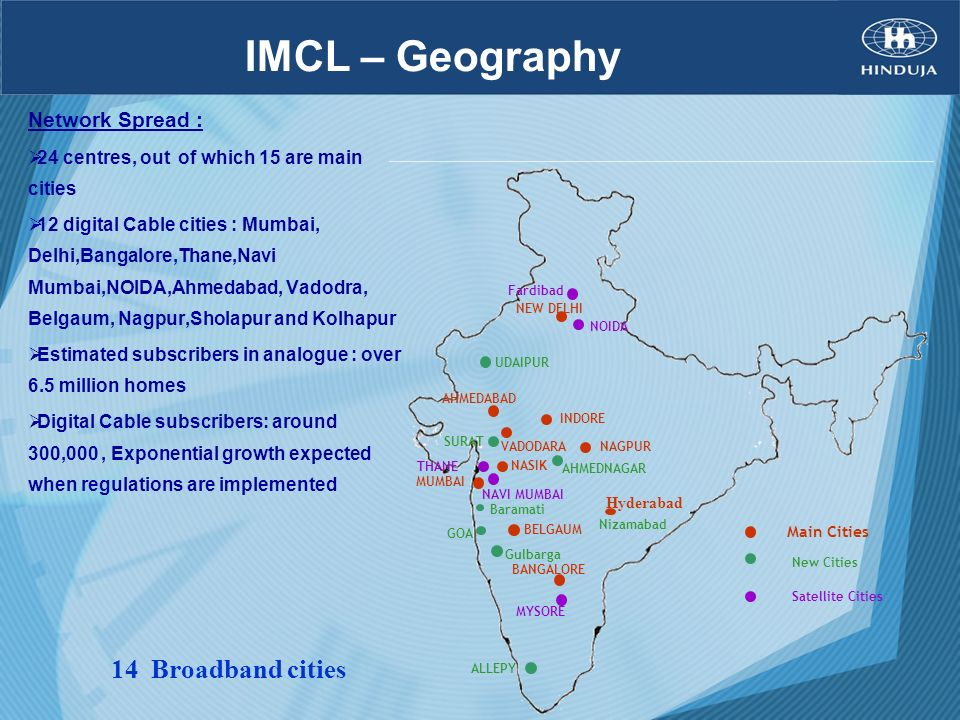 IMCL – Geography 14 Broadband cities Network Spread :