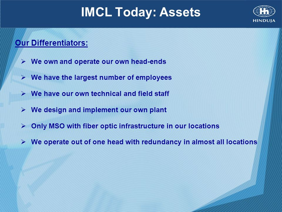 IMCL Today: Assets Our Differentiators: