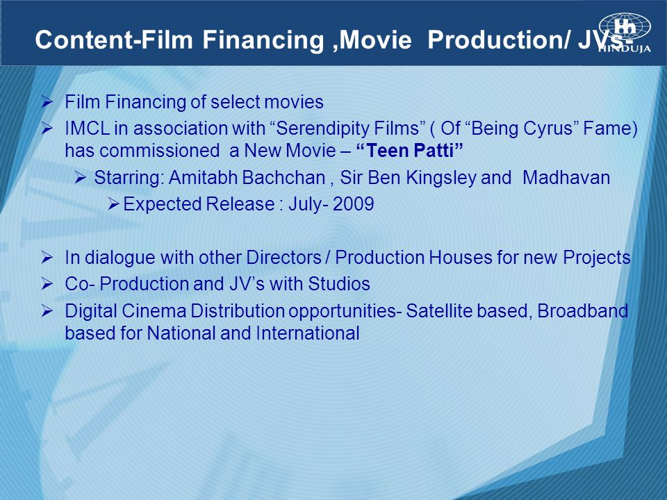 Content-Film Financing ,Movie Production/ JVs-
