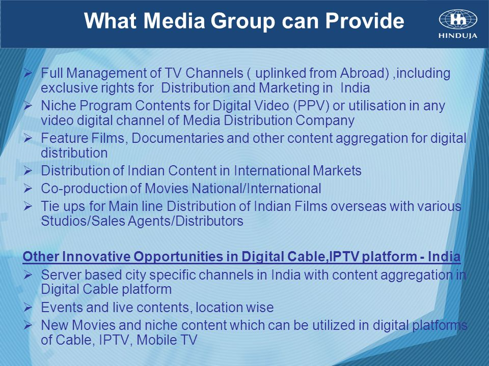 What Media Group can Provide