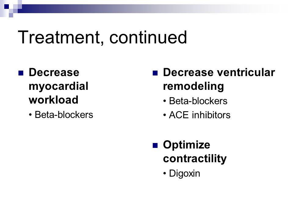 Treatment, continued Decrease myocardial workload