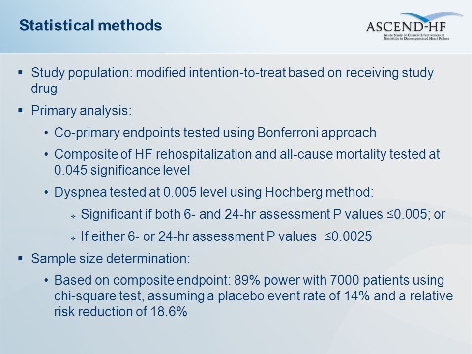 Statistical methods Study population: modified intention-to-treat based on receiving study drug. Primary analysis: