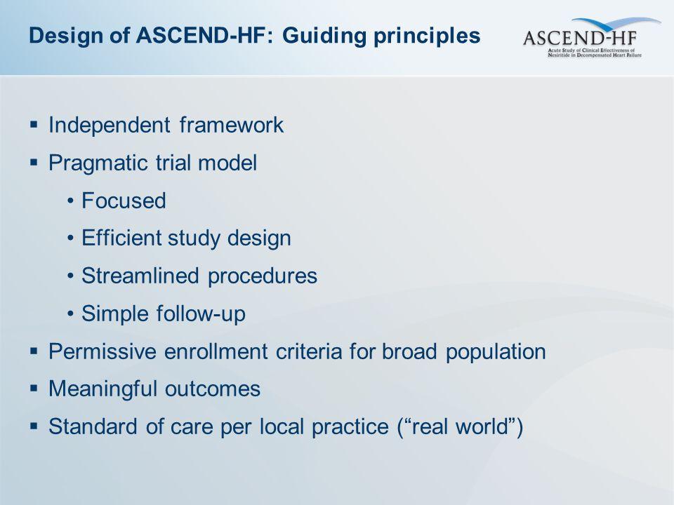 Design of ASCEND-HF: Guiding principles
