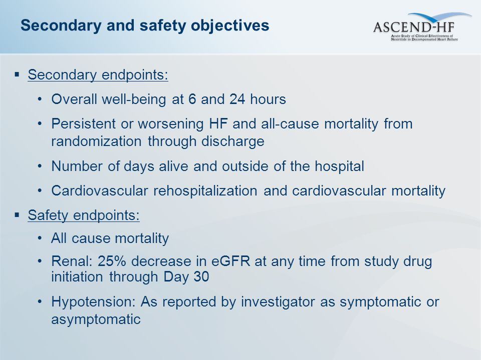 Secondary and safety objectives