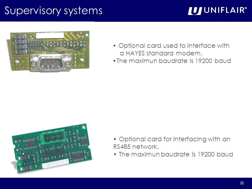 Supervisory systems Optional card used to interface with