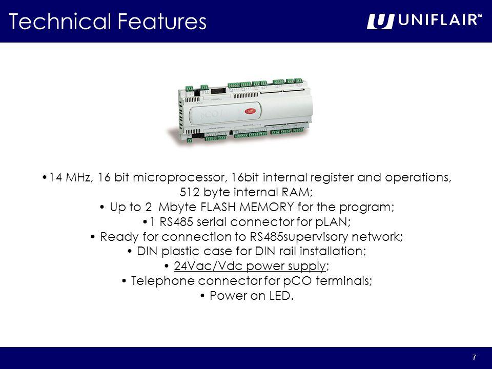 Technical Features 14 MHz, 16 bit microprocessor, 16bit internal register and operations, 512 byte internal RAM;