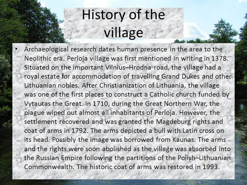 History of the village