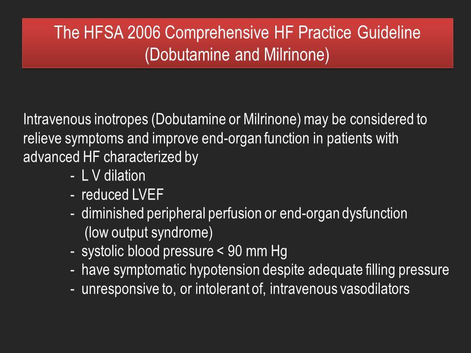 The HFSA 2006 Comprehensive HF Practice Guideline (Dobutamine and Milrinone)