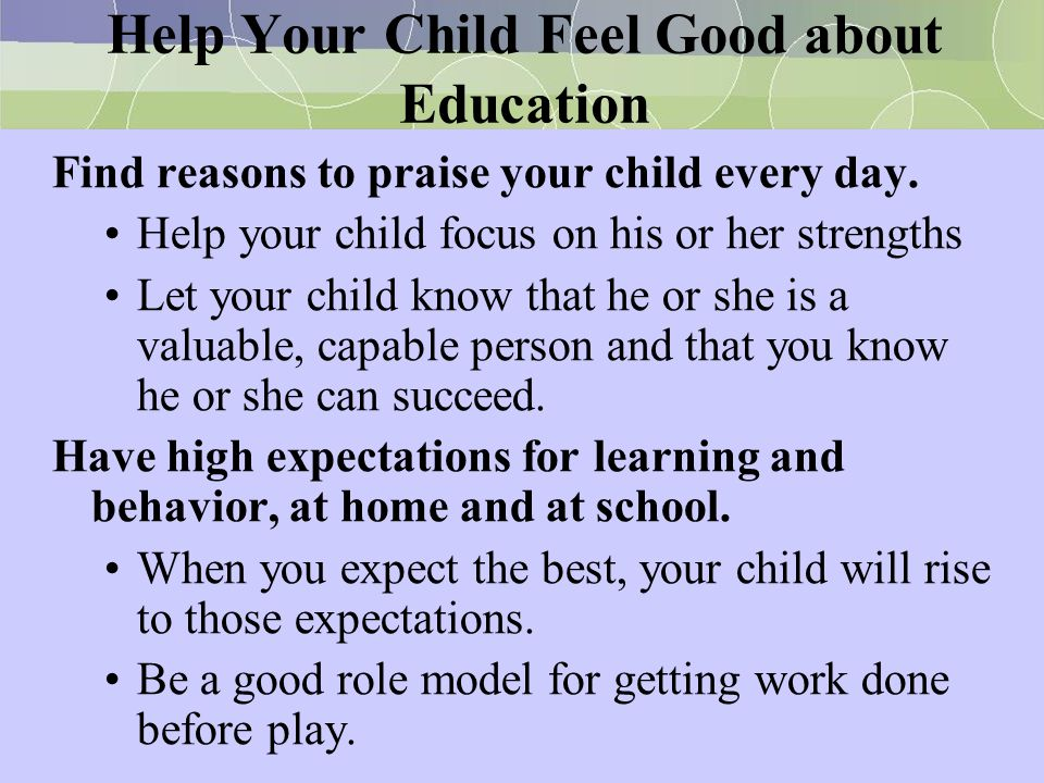 Help Your Child Feel Good about Education
