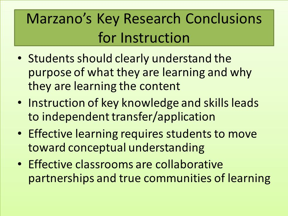 Marzano's Key Research Conclusions for Instruction