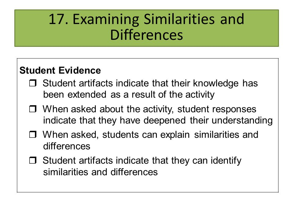17. Examining Similarities and Differences