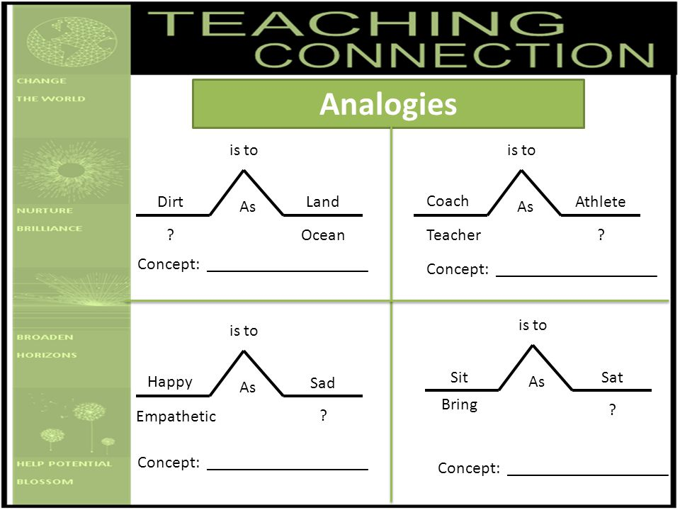 Analogies is to is to Dirt Land Coach Athlete As As Ocean Teacher
