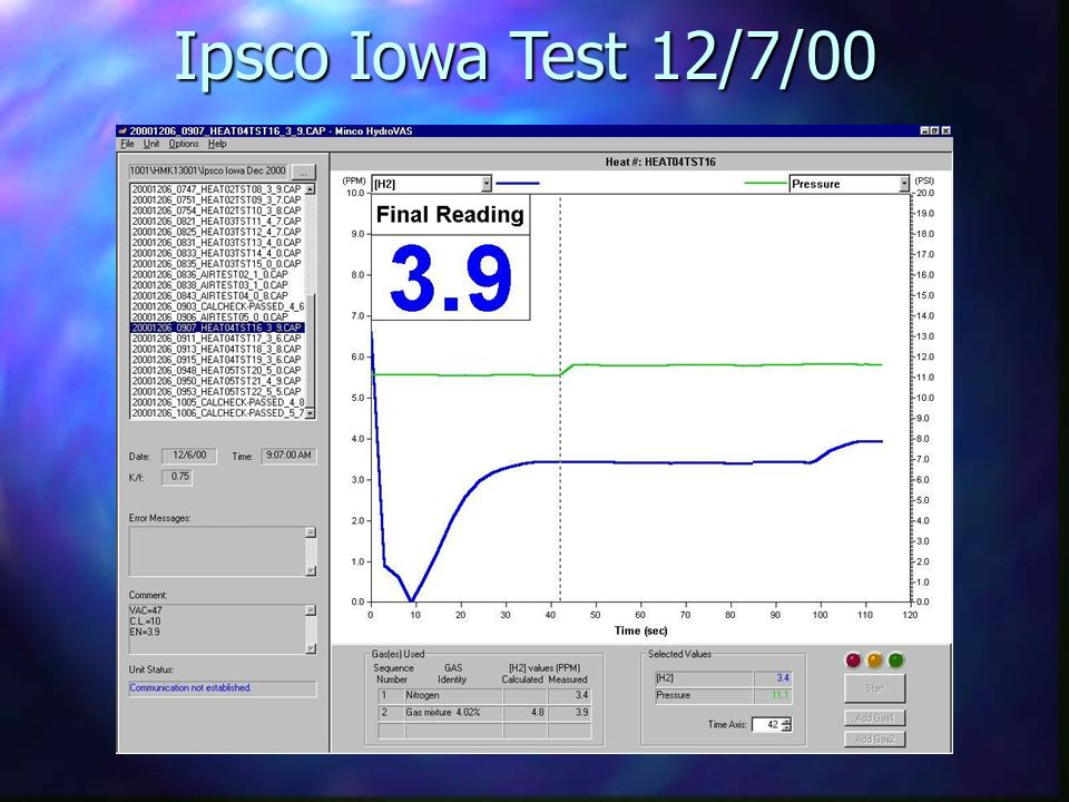 Ipsco Iowa Test 12/7/00