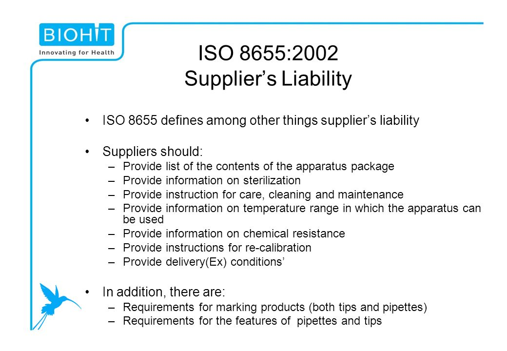 ISO 8655:2002 Supplier's Liability