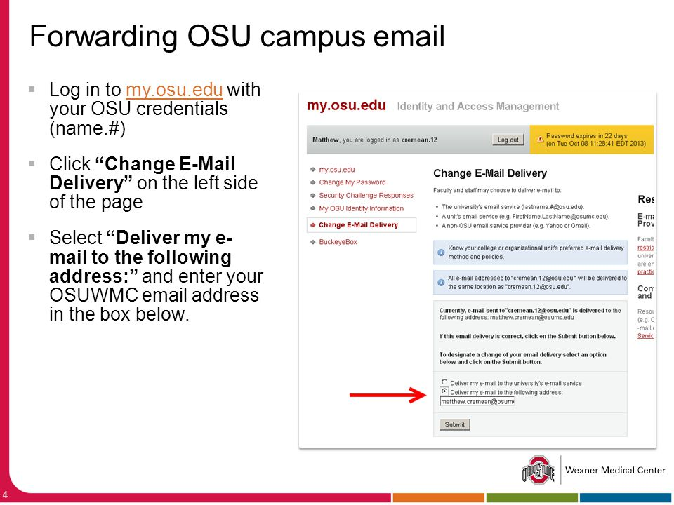 Forwarding OSU campus email