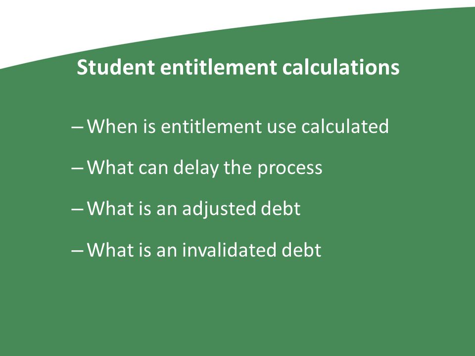 Student entitlement calculations