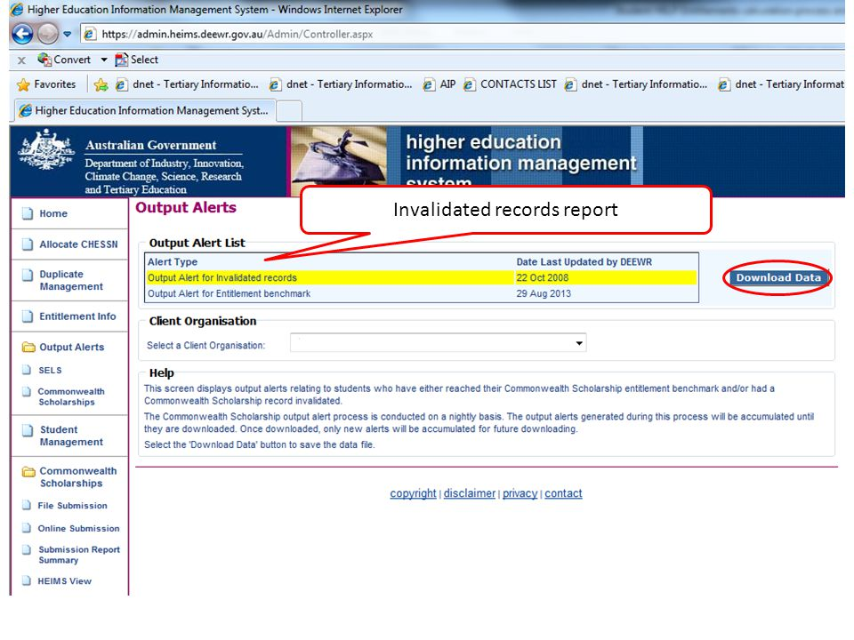 Invalidated records report
