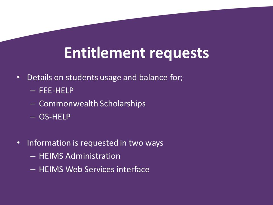 Entitlement requests Details on students usage and balance for;