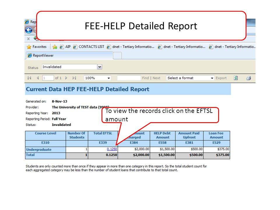 FEE-HELP Detailed Report