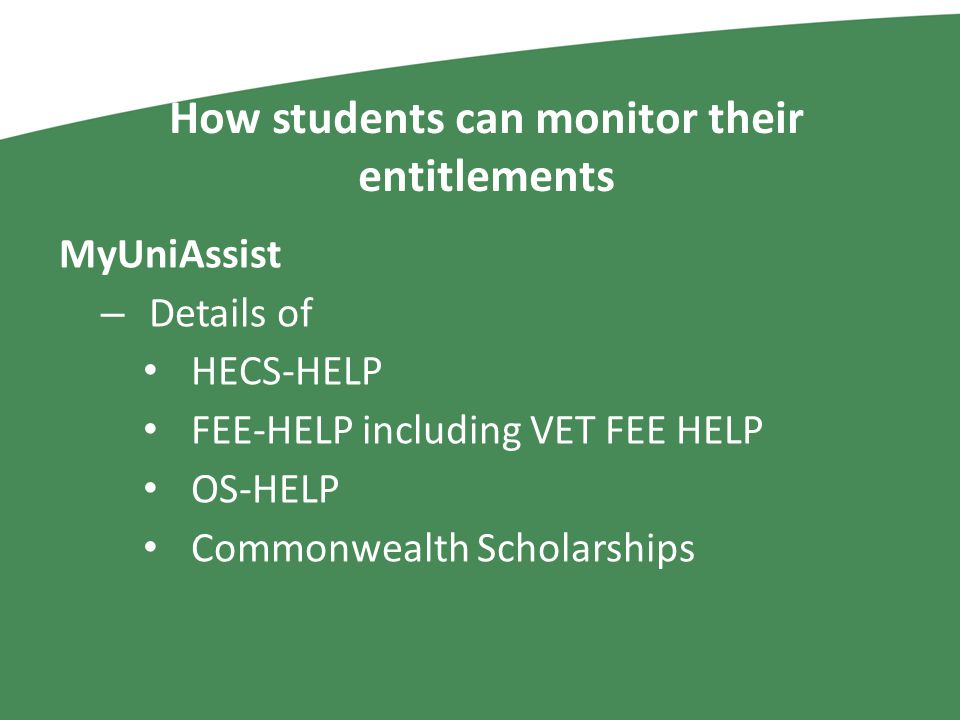 How students can monitor their entitlements