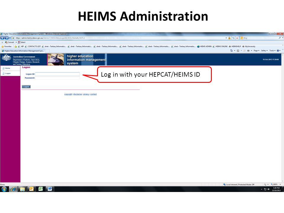 HEIMS Administration Log in with your HEPCAT/HEIMS ID