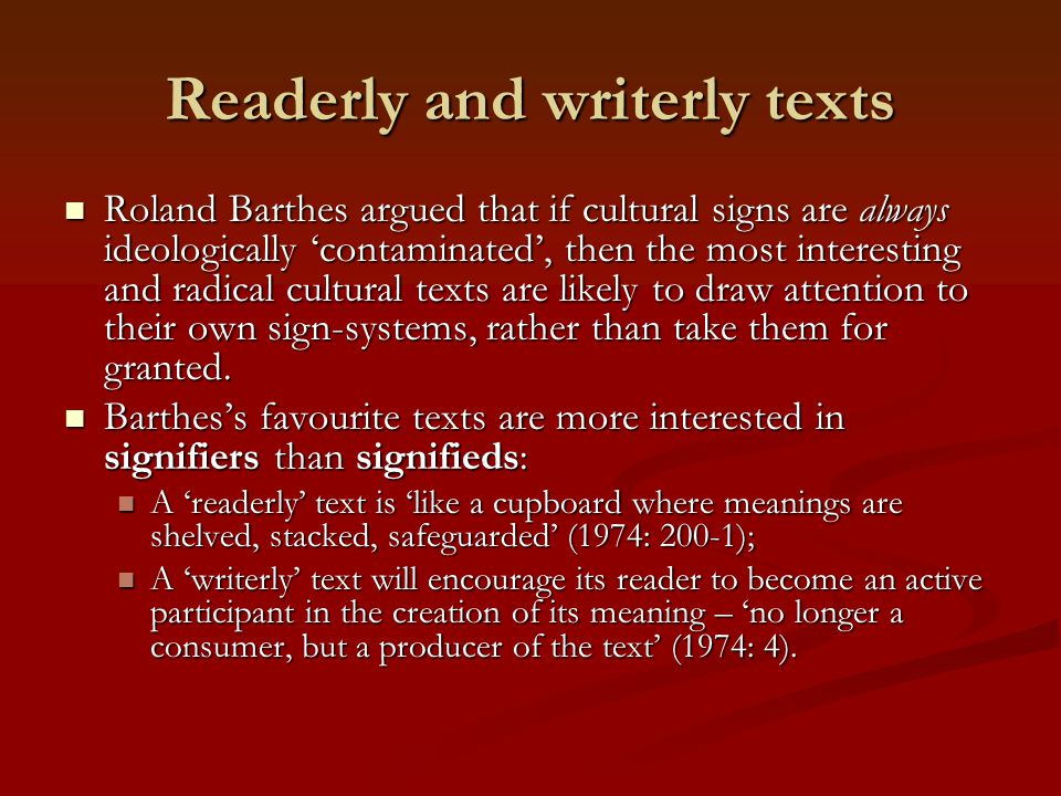 Readerly and writerly texts