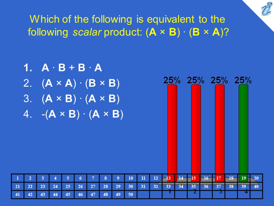 Which of the following is equivalent to the following scalar product: (A × B) · (B × A)