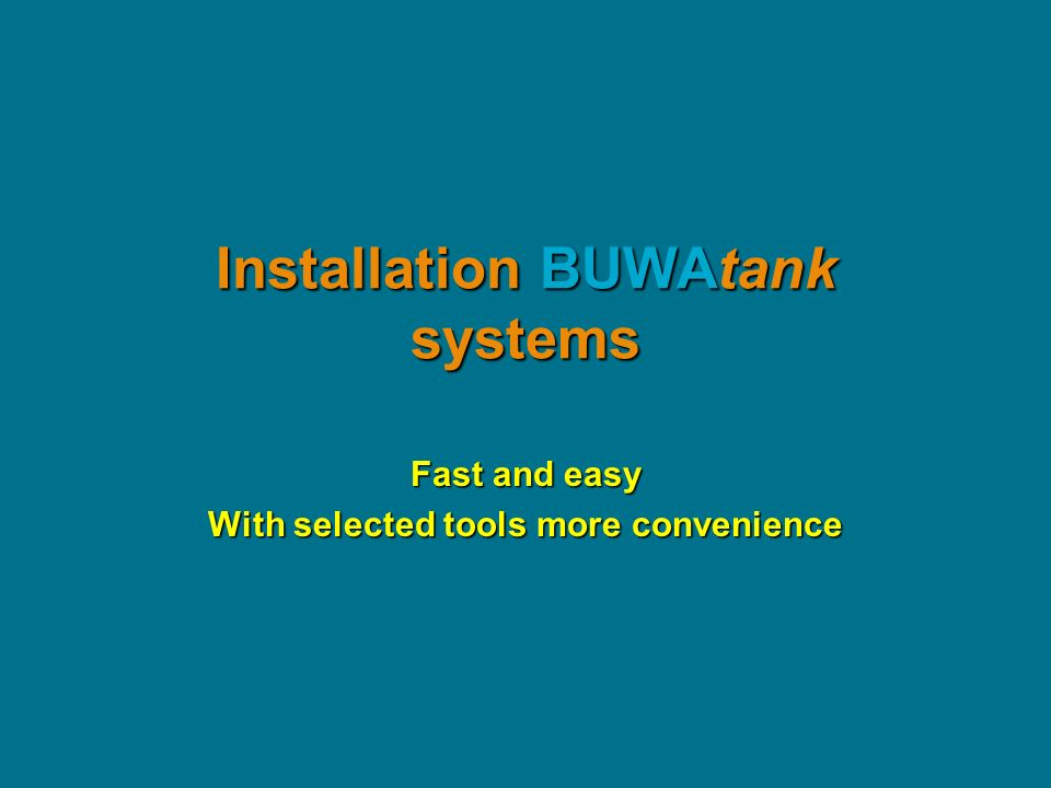 Installation BUWAtank systems